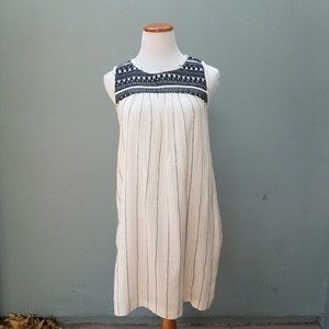 Lucky Brand Striped Gauze Embroidered Dress M